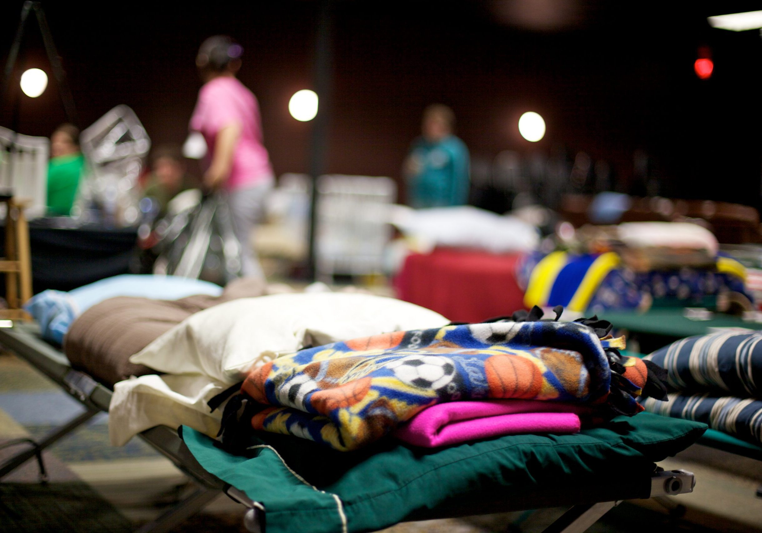 Joplin, United States - May 25, 2011: Public shelther cots where homeless residents stay only a few days following a destructive and deadly F5 tornado May 22, 2011
